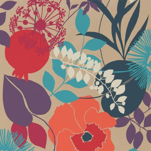 Doyenne Wallpaper from the Standing Ovation Collection by Harlequin in Tangerine, Fuchsia and Turquoise