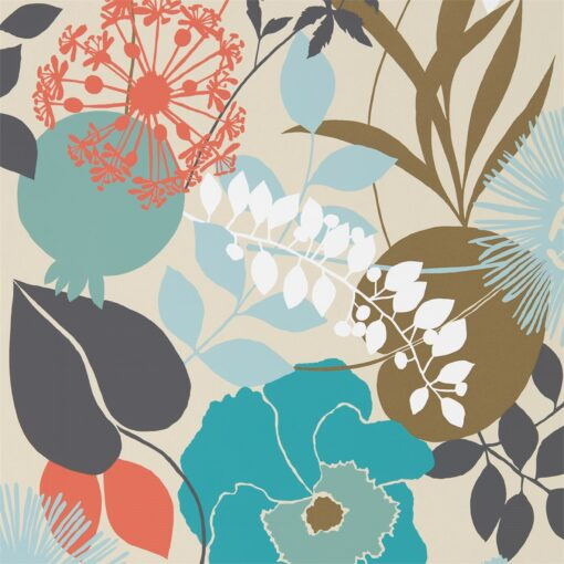 Doyenne Wallpaper from the Standing Ovation Collection by Harlequin in Sky, Olive & Coral