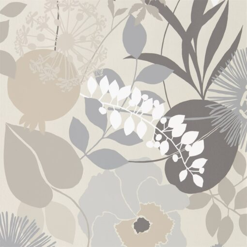 Doyenne Wallpaper from the Standing Ovation Collection by Harlequin in Mist, Linen & Hessian