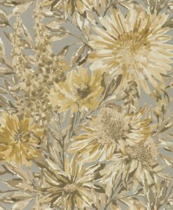 Floreale Wallpaper from the Standing Ovation Collection by Harlequin Wallpaper in Ochre & Gilver