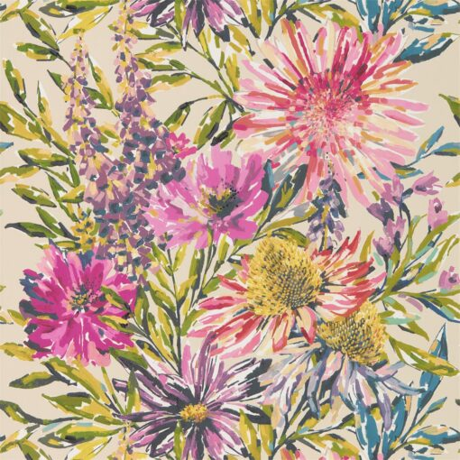 Floreale Wallpaper from the Standing Ovation Collection by Harlequin Wallpaper in Tang & Fuchsia