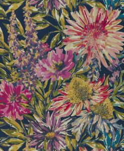 Floreale Wallpaper from the Standing Ovation Collection by Harlequin Wallpaper in Heather & Navy