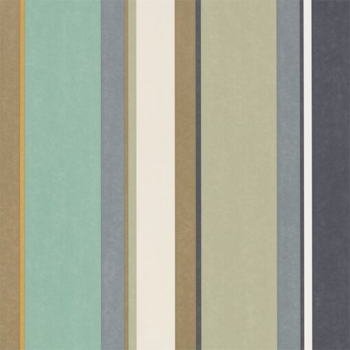 Bella Stripe Wallpaper from the Standing Ovation Collection by Harlequin in Olive, Gilver & Mint