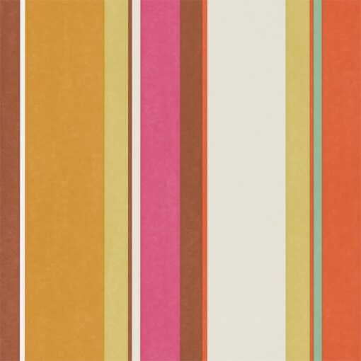 Bella Stripe Wallpaper from the Standing Ovation Collection by Harlequin in Tang, Lemon & Fuchsia