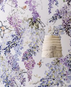 Close up of Wisteria Falls Wallpaper from Waterperry Wallpapers by Sanderson Home