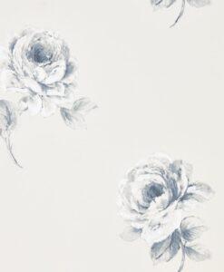 Rosa Wallpaper from Waterperry Wallpaper in Indigo