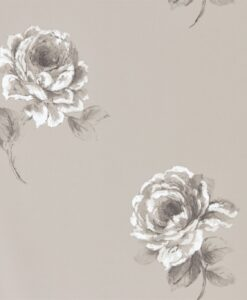 Rosa Wallpaper from Waterperry Wallpaper Silver