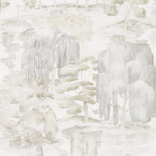 Waterperry Wallpaper from Sanderson Home in Ivory & Stone