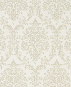 Riverside Damask Wallpaper from Waterperry Wallpapers in Oyster and Pearl