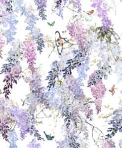 Wisteria Falls Wallpaper Panel B from Waterperry Wallpapers in Aqua