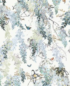 Wisteria Falls Wallpaper Panel A from Waterperry Wallpapers in Lilac