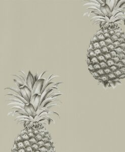 Pineapple Royale Wallpaper from The Art of the Garden Collection in Charcoal and Champagne