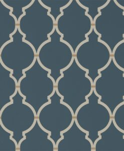 Empire Trellis Wallpaper from the Art of the Garden Collection in Indigo & Linen