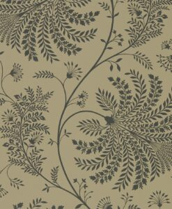Mapperton Wallpaper from The Art of the Garden Collection in Charcoal & Gold