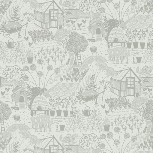 The Allotment Wallpaper from The Potting Room Collection in Dove