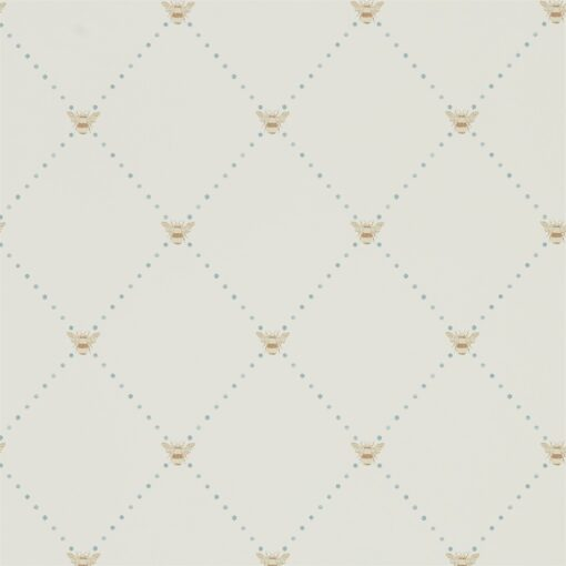 Nectar Wallpaper from The Potting Room Collection in Linen & Honey in Copper & Denim