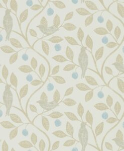 Damson Tree Wallpaper from The Potting Room Collection in Denim & Barley