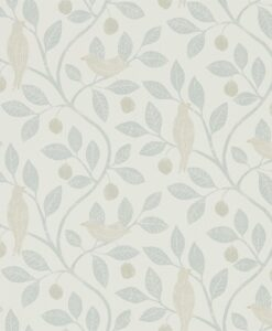 Damson Tree Wallpaper from The Potting Room Collection in Mineral & Dove