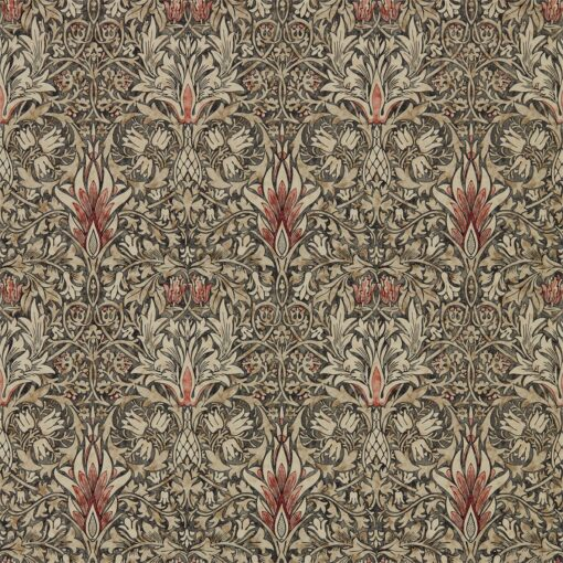 Snakeshead wallpaper from the Archives IV collection by Morris & Co. in Charcoal & Spice