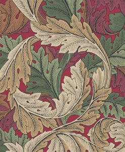 Acanthus Wallpaper from the Archive IV Collection by Morris & Co in Madder & Thyme