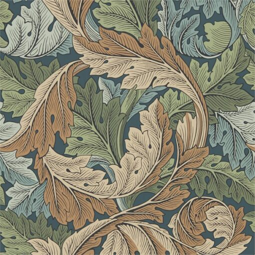 Acanthus Wallpaper from the Archive IV Collection by Morris & Co in Slate Blue & Thyme