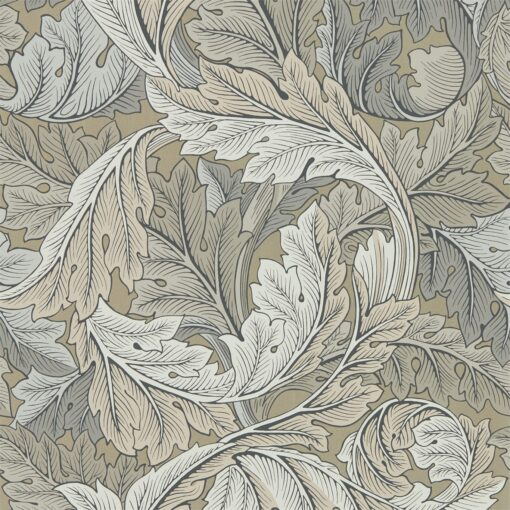 Acanthus Wallpaper from the Archive IV Collection by Morris & Co in Slate Manilla & Stone