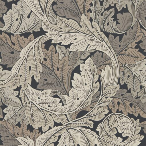 Acanthus Wallpaper from the Archive IV Collection by Morris & Co in Charcoal & Grey