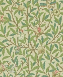 Bird & Pomegranate wallpaper from The Craftsman Wallpapers by Morris & Co. in Bayleaf & Cream