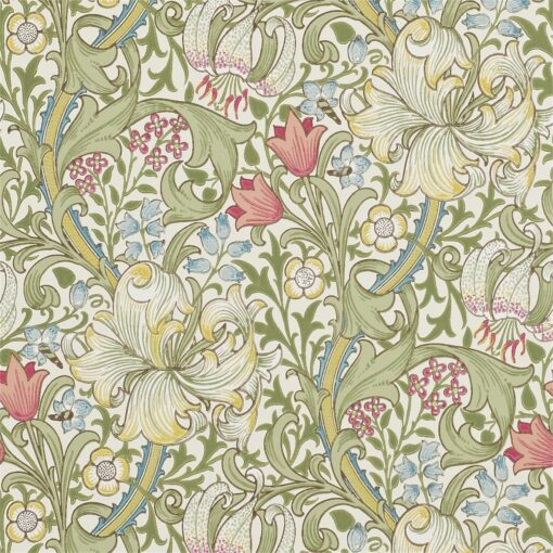 Golden Lily Wallpaper from The Craftsman Wallpapers by Morris & Co. in Green & Red