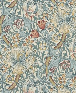 Golden Lily Wallpaper from The Craftsman Wallpapers by Morris & Co. in Slate & Manilla