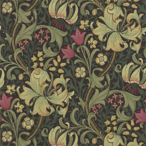 Golden Lily Wallpaper from The Craftsman Wallpapers by Morris & Co. in Charcoal & Olive