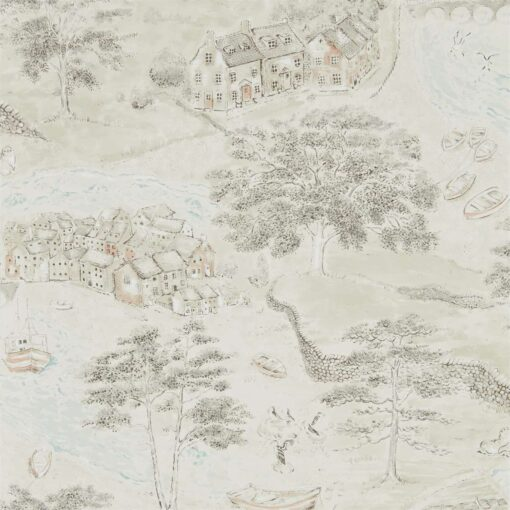 Sea Houses Wallpaper from the Embleton Bay Collection by Sanderson Home in Charcoal & Linen