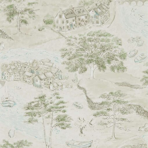 Sea Houses Wallpaper from the Embleton Bay Collection by Sanderson Home in Green & Sand