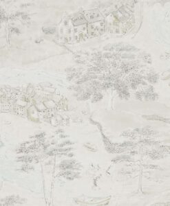 Sea Houses Wallpaper from the Embleton Bay Collection by Sanderson Home in Chalk & Silver