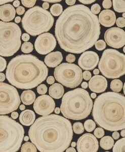 Alnwick Logs wallpaper from Sanderson Home in the Embleton Bay Collection in Lacquer Black