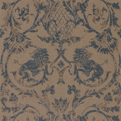 Landseer Wallpaper by Zophany in Prussian Blue & Copper