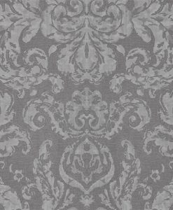 Brocatello Wallpaper from the Damask Wallpapers Collection by Zophany in Logwood Grey