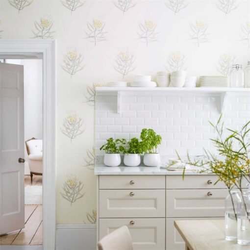 Protea Flower Wallpaper from The Art of the Garden Collection by Sanderson Home