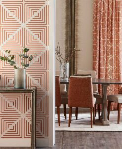 Radial Wallpaper from the Momentum 04 Collection in Pearl and Paprika