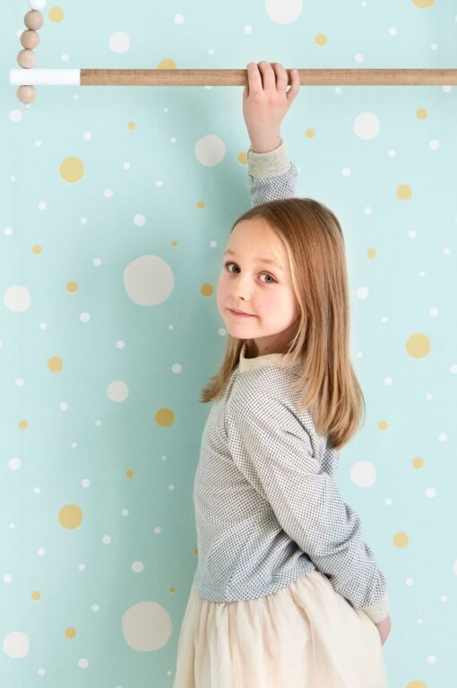 Confetti Wallpaper by Majvillan in Turquoise 117-02 B
