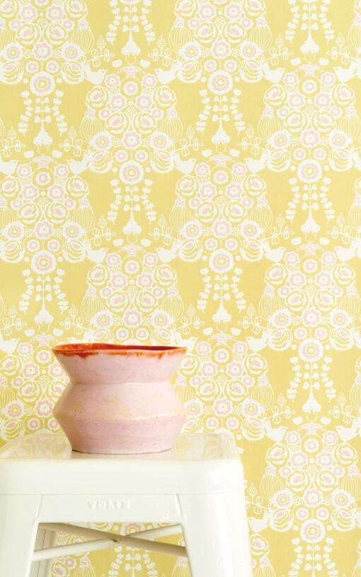 Estelle Wallpaper by Majvillan in yellow