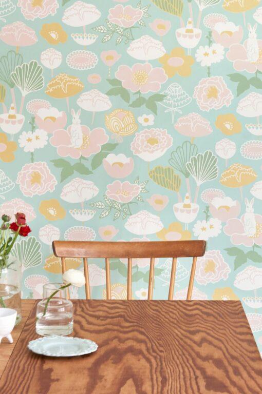 Little Light Wallpaper by Majvillan in turquoise 114-02