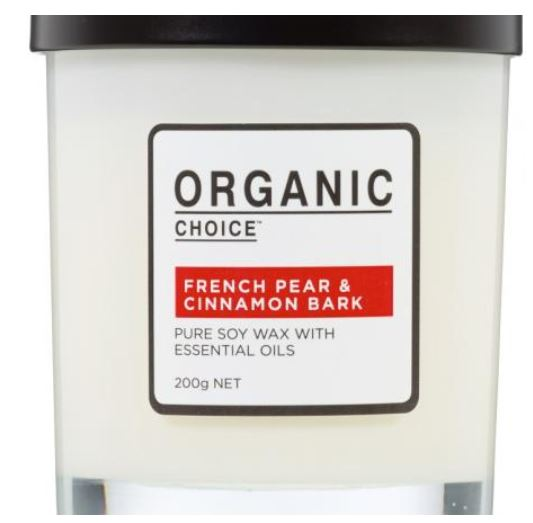 Organic Choice scented candle - French pear and cinnamon bark