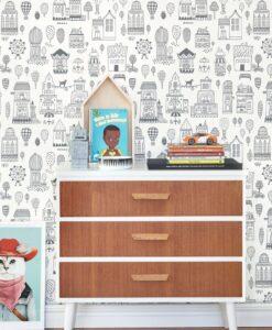 Small Town Wallpaper by Majvillan in Black 118-02 A