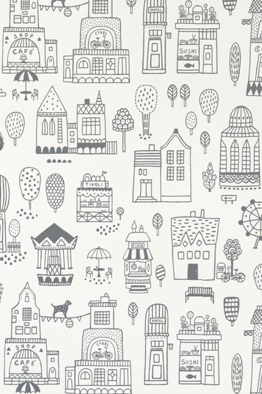 Small Town Wallpaper by Majvillan in Black 118-02 C