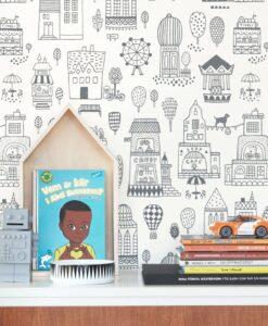 Small Town Wallpaper by Majvillan in Black 118-02 D