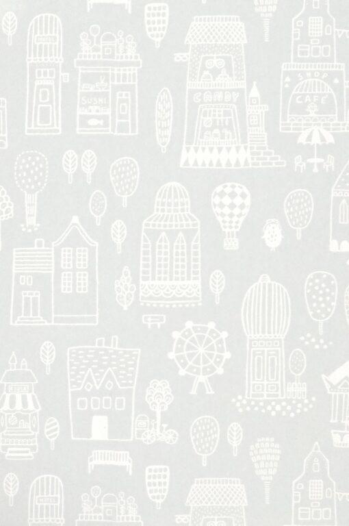 Small Town Wallpaper by Majvillan in Grey 118-01 C