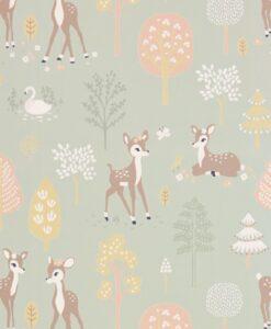 Golden Woods Wallpaper by Majvillan in Dusty Green
