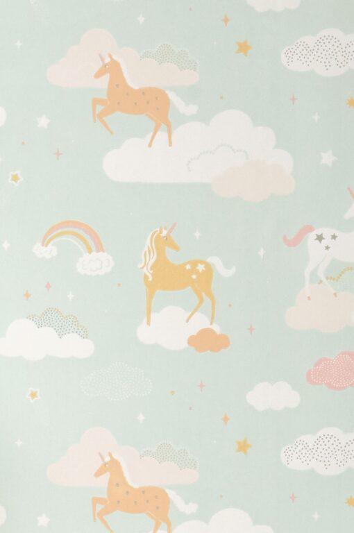 Rainbow Treasures Wallpaper by Majvillan in Bubblegum Turquoise