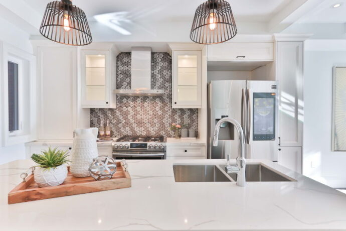 Modern kitchen with decorative splashback